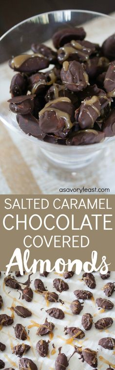 Is it a snack or a dessert? These indulgent Salted Caramel Chocolate-Covered Almonds are irresistible! This snack is made from scratch but is quick and easy to make. It starts with coating almonds in melted dark chocolate. Next comes a homemade caramel drizzle and a sprinkle of sea salt. You won't be able to stop munching on these!