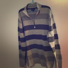Banana Republic Sweater Banana Republic stripped sweater! Zipper and collar! Really cute comfy baggy sweater! Size XL only worn a handful of times! Perfect for cold weather Banana Republic Sweaters