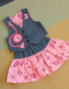 Hey, I found this really awesome Etsy listing at https://www.etsy.com/listing/206102628/cowgirl-vest-and-skirt-denim-with-pink