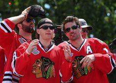 Chicago Blackhawks Victory Parade and Rally - June 28, 2013: Brandon Bollig, Patrick Kane, Patrick Sharp, and Corey Crawford (Photo by Jonathan Daniel/Getty Images)