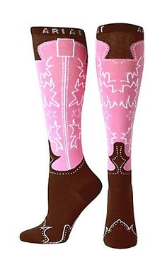 Ariat Women's Pink and Brown Western Boot Knee High Socks   Cavender's