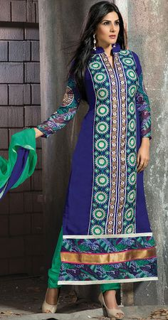 USD 35.16 Navy Blue Faux Georgette Long Churidar Suit 42661