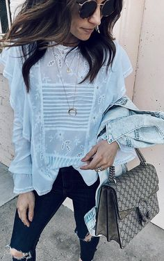 #spring #outfits white top, ripped jeans, denim jacket