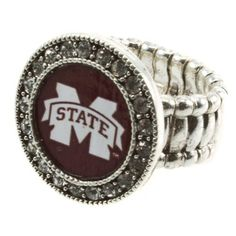 DR - MSU, Silver toned stretch band ring with crystal rhinestones surrounding the Mississippi State University logo, Bulldogs Mississippi State University, http://www.amazon.com/dp/B005FD1ZEW/ref=cm_sw_r_pi_dp_0DLMqb10792A2