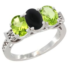 14K White Gold Natural Black Onyx & Peridot Sides Ring 3-Stone Oval 7x5 mm Diamond Accent, size 8, Women's