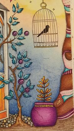 The secret garden coloring book CLOSE UP of gazebo two page spread. Colored by Dayna
