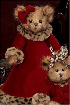 "Leona Leopard 14"" Victorian Valentine's Day Dressed Stuffed Teddy Bear by Bearington"