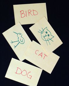 WORD RECOGNITION 1  Matching Game: Write easily recognizable words on index cards and then draw or cut out pictures that match the words.  Lay them out on the table face up and have the students match them together.  This helps them recognize the word that goes with the picture (site words).
