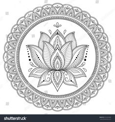Circular pattern in form of mandala with lotus for Henna, Mehndi, tattoo, decoration. Decorative ornament in ethnic oriental style. Coloring book page. Lotus Flower Art, Lotus Art, Flower Mandala, Mandala Doodle, Mandala Drawing, Mandala Tattoo, Mandala Artwork, Mandala Painting, Dot Painting