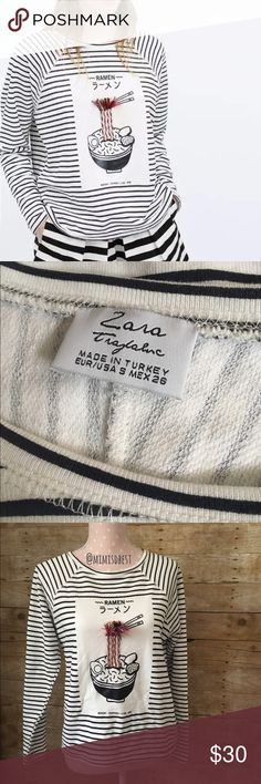 Zara  Ramen noodle top Adorable Zara long sleeve top. Rare & no longer being sold in stores. Size small. Fits try to size. New without tags. *first pic is stock pic from Zara Zara Tops Tees - Long Sleeve