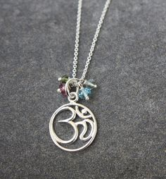 Ohm Symbol and Multicolor Sapphire in Sterling Silver by yaniamor, $44.00