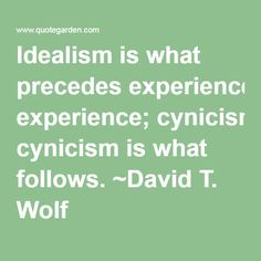 Idealism is what precedes experience; cynicism is what follows. ~David T. Wolf