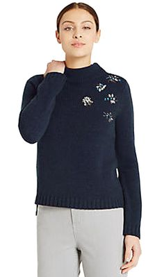 EX £49.50 M/&S MARKS /& SPENCER JUMPER BEADED TURTLE NECK CABLE KNIT CREAM 10-24