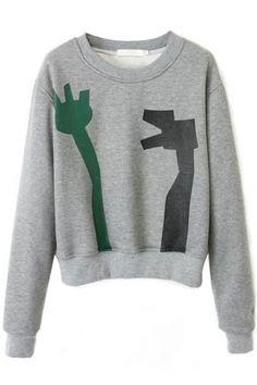 Classic Grey Patternned Sweatshirt