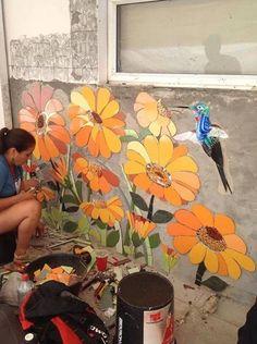 Mosaïque Mosaic Wall Art, Mosaic Diy, 3d Wall Art, Mosaic Garden, Mosaic Crafts, Mosaic Projects, Mosaic Glass, Mosaic Tiles, Garden Art
