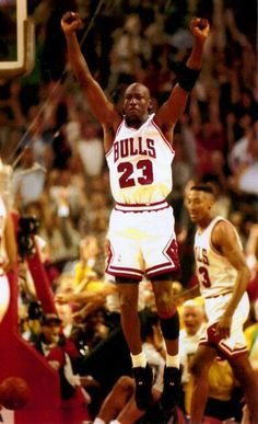 The GOAT celebrates a game clinching and one on Charles Barkley and the Suns during the finals in Chicago.