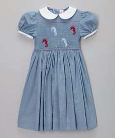 Take a look at this Blue Chambray Seahorse Smocked Dress - Infant, Toddler & Girls by Emily Lacey on #zulily today!