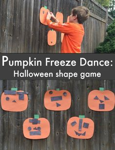 Pumpkin Shape Freeze Dance!  Perfect for our Halloween party!