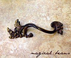 Dark Brass Victorian Pull - Authentic Restoration Vintage Hardware - French Style Drawer Pulls - Decorative Dresser Handles