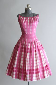 Vintage 1950s Dress / 50s Cotton Dress / Pat Premo Pink and White Checkered Sun…