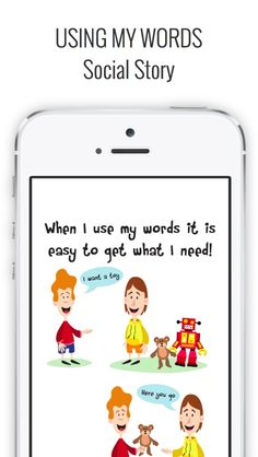 Using my Words is a social story about using words to ask for what you want that includes a simple visual support for manding, or asking for different objects or activities. #touchautism #usingmywords #useyourwords #speechapp #socialstory #touchautism #socialstories