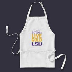 Love Purple Live Gold LSU Logo Aprons