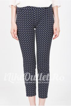 Pantaloni bleumarin cu imprimeu grafic - ZW