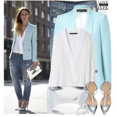 A fashion look from April 2013 featuring white blouse, blue blazer and boyfriend jeans. Browse and shop related looks.