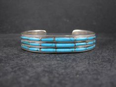 Vintage Native American Turquoise Inlay Cuff Bracelet Gilbert