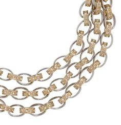 Short Metal and Pave Links Multi Strand Necklace