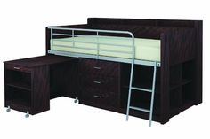 low loft beds for adults storage | clairmont loft bed espresso the loft bed with desk and storage ...