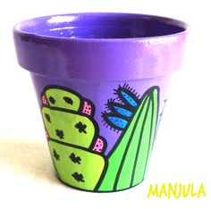 Risultati immagini per manjula macetas Flower Pot Crafts, Clay Pot Crafts, Diy Clay, Painted Clay Pots, Painted Flower Pots, Bottle Garden, Garden Pots, Pot Jardin, Cactus Pot