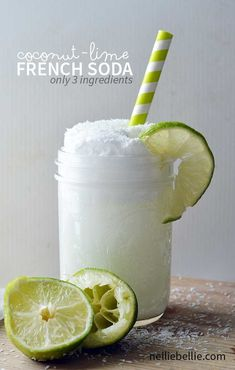 Coconut Lime French Soda (only 3 ingredients) French sodas are incredibly easy to make, and are a refreshing drink for anytime. This coconut and lime french soda is absolutely delicious! Refreshing Drinks, Summer Drinks, Fun Drinks, Healthy Drinks, Lime Drinks, Pool Drinks, Healthy Nutrition, Cocktail Drinks, Party Drinks Alcohol