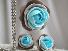 Polymer clay jewelry set - Shades of turquoise and brown rose flower pendant with stainless steel ball chain and stud earrings