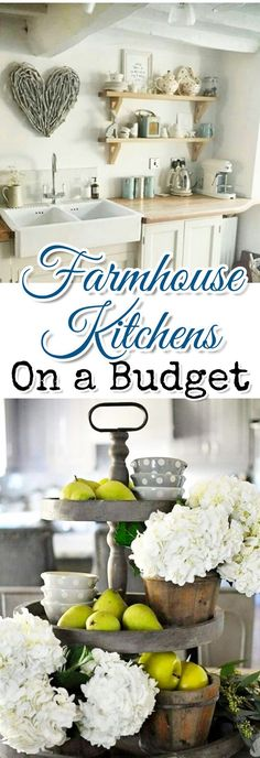 Farmhouse kitchen decorating ideas on a budget.  Create your own farmhouse style kitchen with these budget friendly DIY ideas and tips.