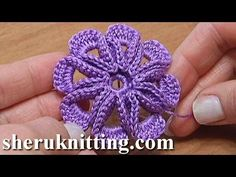 Fiore a uncinetto con 8 petali in rilievo - Video Tutorial