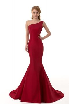 GEORGE DESIGN Brief Elegant Burgundy Mermaid One-Shoulder Evening Dress:Amazon:Clothing
