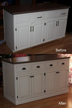 Kitchen Island Makeover HOW stupid easy is that.and what a HUGH difference! Home Kitchens, Kitchen Island Makeover, Kitchen Remodel, Kitchen Design, Kitchen Cabinets Toe Kick, Home Decor Kitchen, Kitchen Room, Kitchen Redo, Old Kitchen