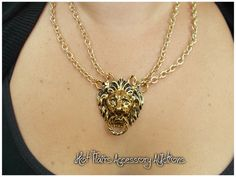 Versace Inspired Lion Chain Necklace Go to:  facebook.com/hotflairs  etsy.com/hotflairs