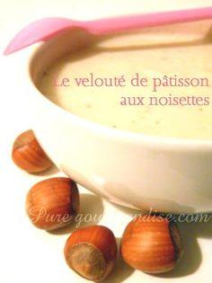 ╬ •  Velouté pâtisson noisettes • ╬ ►1 pâtisson  ►20 cl Crème de riz  ►1 gousse d'ail émincée Echalotes : 2  Poudre de noisettes : 50 g Mélange de 5 baies Lait : 5 à 10 cl Sel, poivre