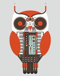 Owl made of DJ equipment.