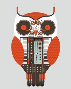 Owl made of DJ equipment.