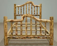 Log bed frame by misty mountain furniture more bent logs logs beds bed