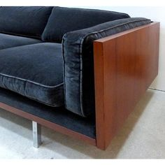 Milo Baughman Attributed Mid-Century Modern Wood Tuxedo Sofa In Excellent Condition For Sale In Miami, FL Furniture Logo, Online Furniture, Bedroom Furniture, Home Furniture, Sofa Upholstery, Fabric Sofa, Modern Sofa, Mid-century Modern, Milo Baughman