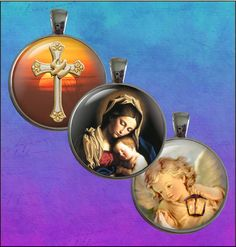 Religious  One Inch Round Digital Collage Sheets by AliyaGraphics