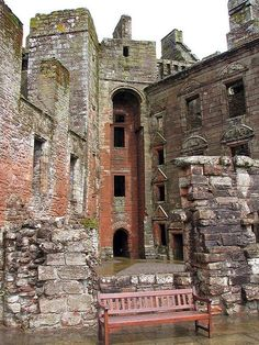 Caerlaverock Castle is a moated triangular castle first built in the 13th century. It is located on the southern coast of Scotland