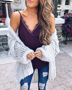 lace camisole, big chunky sweater, choker necklaces