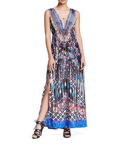 Loving this Black Pom-Pom Geometric Maxi Dress on #zulily! #zulilyfinds