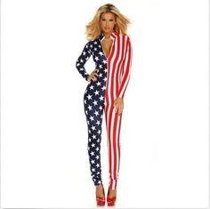 Sexy Hot American Patriot USA Flag Bodysuit Women's Halloween Costume Outfit #Forplay #Jumpsuit