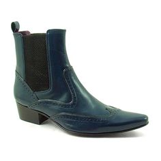 Designed by Gucinari: lush navy leather mens chelsea boots.